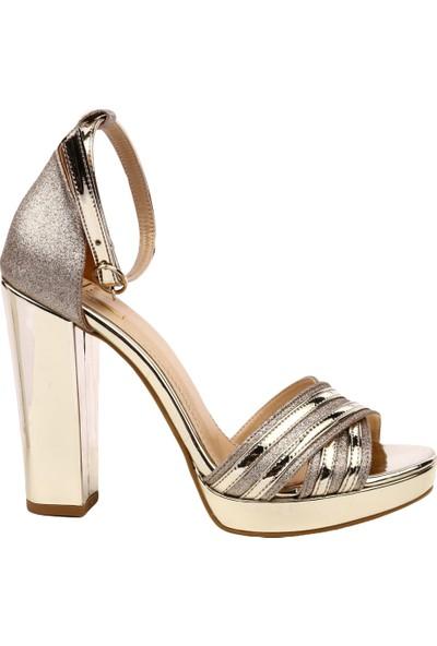 Dgn K50 Kadın Burnu Açık Çapraz Yüz Bilekten Bağlı Platform Taban Lita Topuklu Ayakkabı Altın