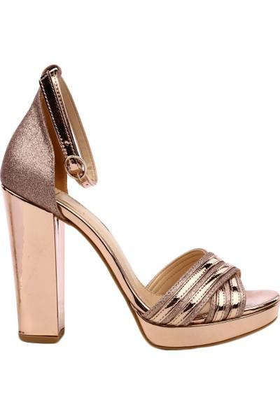 Dgn K50 Kadın Burnu Açık Çapraz Yüz Bilekten Bağlı Platform Taban Lita Topuklu Ayakkabı Rose
