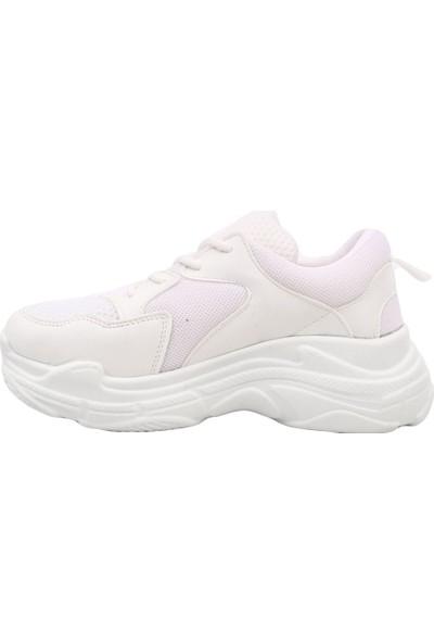 Dgn K505 Kadın Kalın Taban Sneakers Spor Ayakkabı Beyaz