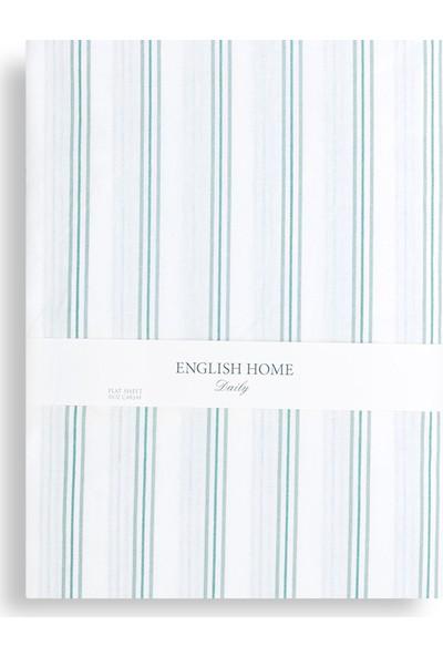 English Home Summer Stripe Pamuklu Çift Kişilik Çarşaf 240X260 Cm Seledon