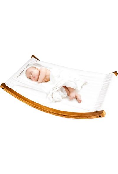 Svava Ahşap Bebek Ana Kucağı, Sallanan Bebek Beşiği Boyasız, Ham Kumaş