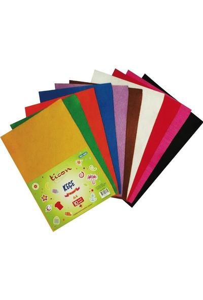 Ticon A4 Yapışkanlı Keçe 10 Adet 10 Renk Karışık Paket