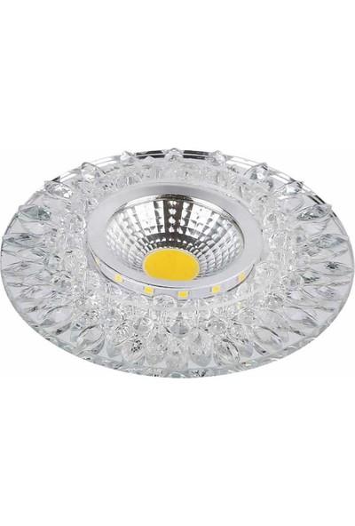 Pause 3W Cob (3000K) + 2W Smd (6500K) Ledli Kristal Spot Beyaz Cam-7