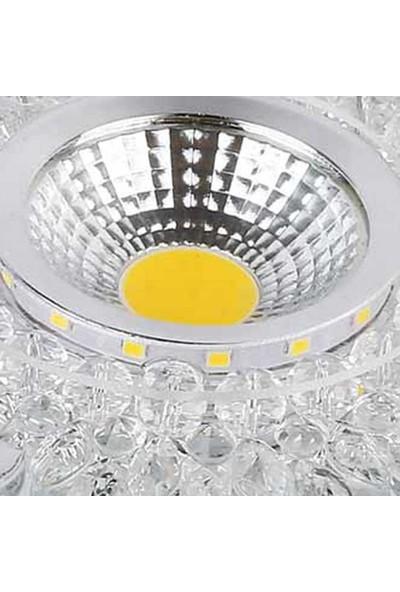 Pause 3W Cob (3000K) + 2W Smd (6500K) Ledli Kristal Spot Beyaz Cam-10