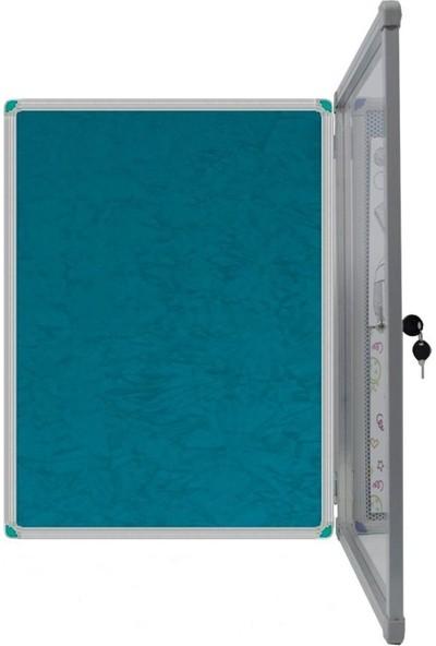 Abc 50x70 cm Camekanlı Anahtarlı Apartman İlan Panosu - Turkuaz Yeşili