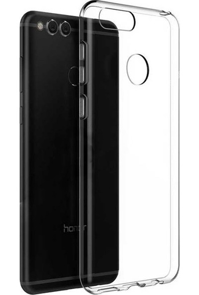 Case Street Huawei Honor 7X Kılıf 02 mm Silikon Kılıf+Cam+Kalem Şeffaf