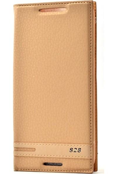 Case Street HTC Desire 828 Kılıf Elite Gizli Mıknatıslı Kapaklı Gold