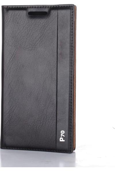 Case Street Lenovo P70 Kılıf Milano Mıknatıslı Kapaklı+Nano Glass Siyah