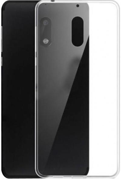Case Street Nokia 6.1 2018 Kılıf 02 mm Silikon İnce Kapak+Nano Glass Şeffaf