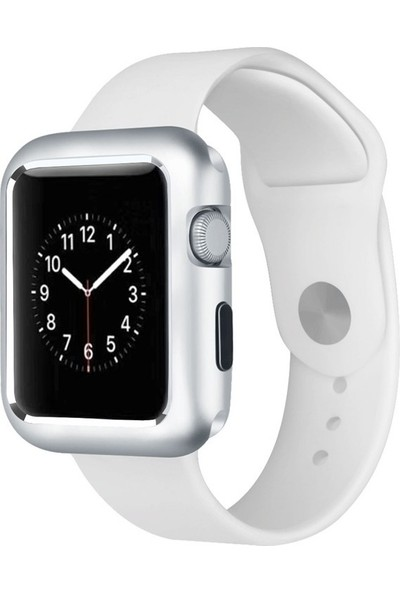 Case Street Apple Watch 42 mm Kılıf Magnetic Cam Full Kapak Gümüş