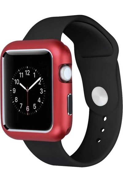 Case Street Apple Watch 42 mm Kılıf Magnetic Cam Full Kapak Kırmızı