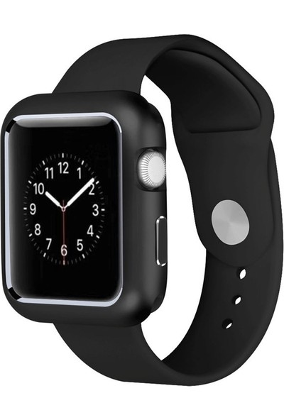 Case Street Apple Watch 42 mm Kılıf Magnetic Cam Full Kapak Siyah