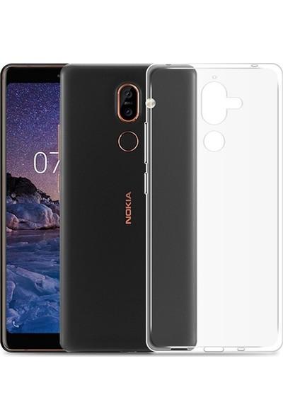 Case Street Nokia 7 Plus Kılıf 02 mm Silikon İnce Arka Kapak+Nano Glass Şeffaf
