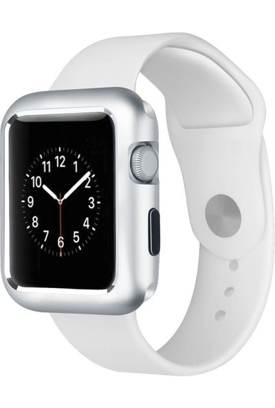 Case Street Apple Watch 40 mm Kılıf Magnetic Cam Full Kapak Gümüş