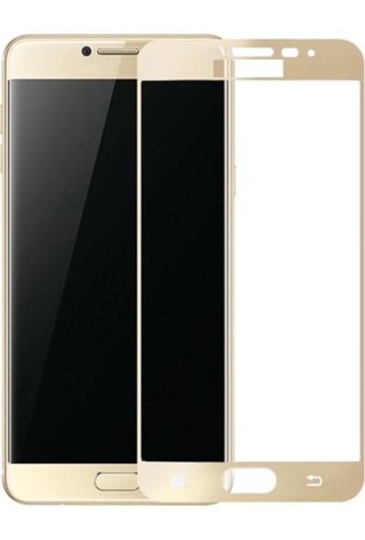 Case Street Samsung Galaxy C7 Full Kapatan Renkli Cam Gold