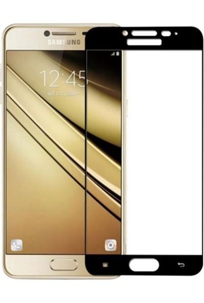 Case Street Samsung Galaxy C7 Full Kapatan Renkli Cam Siyah