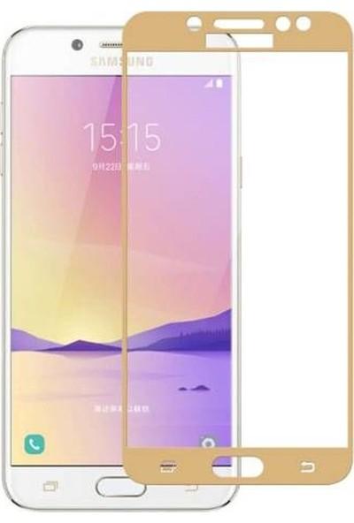 Case Street Samsung Galaxy C8 Full Kapatan Renkli Cam Gold