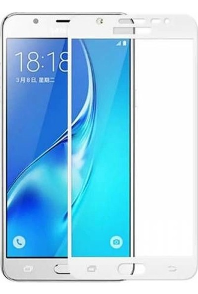 Case Street Samsung Galaxy J7 Max Full Kapatan Renkli Cam Beyaz