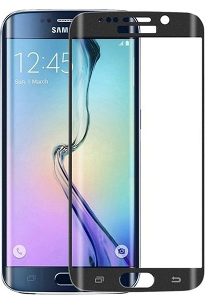 Case Street Samsung Galaxy S6 Edge Full Kapatan Renkli Cam Siyah