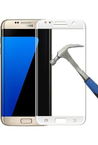 Case Street Samsung Galaxy S7 Edge Full Kapatan Renkli Cam Beyaz