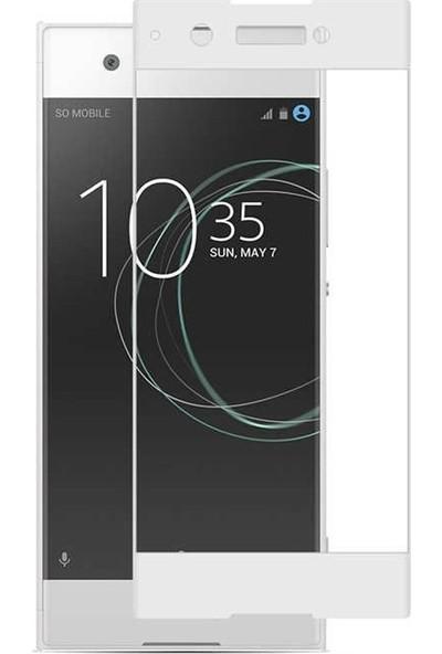 Case Street Sony Xperia XA1 Full Kapatan Renkli Cam Beyaz