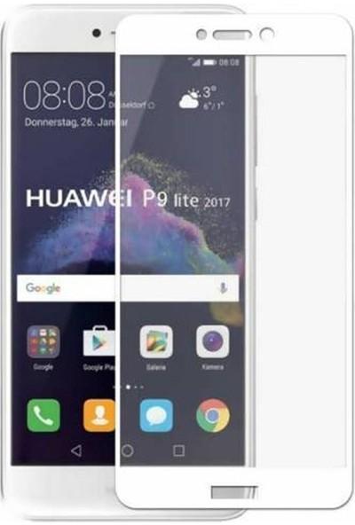 Case Street Huawei P9 Lite 2017 Full Kapatan Renkli Cam Beyaz