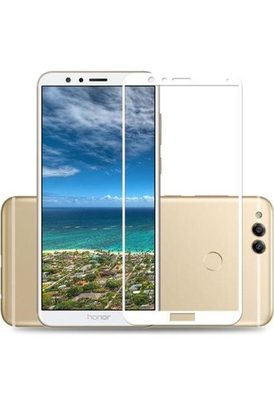 Case Street Huawei Honor 7x Full Kapatan Renkli Cam Beyaz