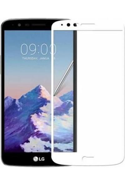 Case Street LG Stylus 3 Full Kapatan Renkli Cam Beyaz