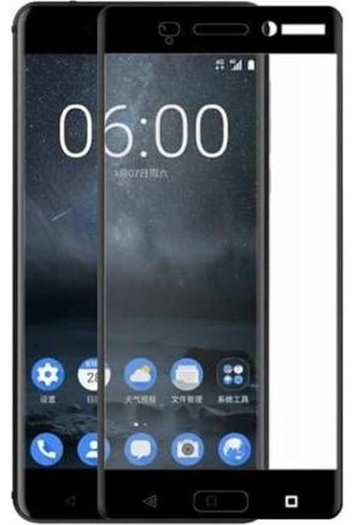 Case Street Nokia 6 Full Kapatan Renkli Cam Siyah