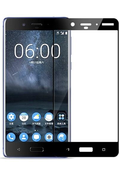Case Street Nokia 8 Full Kapatan Renkli Cam Siyah