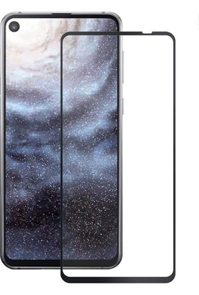 Case Street Samsung Galaxy A8s Full Kapatan Renkli Cam Tam Koruma Siyah