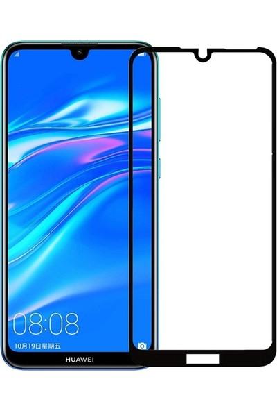 Case Street Huawei Y7 2019 Full Kapatan Renkli Cam Tam Koruma Siyah