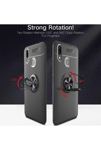 Case Street Huawei Y6 2019 Kılıf Ravel Yüzüklü Mıknatıslı Silikon+Nano Glass Kırmızı