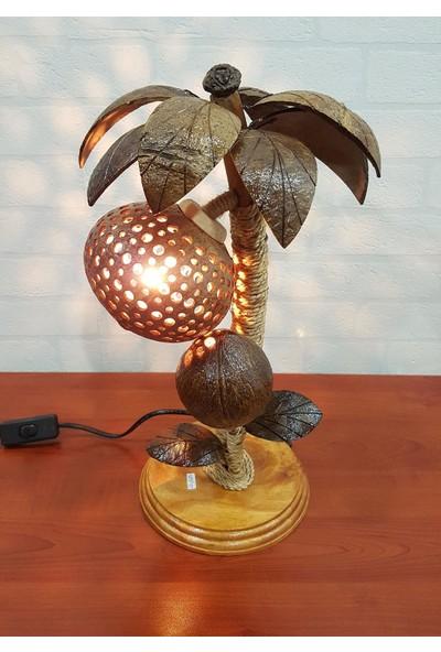 Evim Tatlı Evim Gerçek Coconut El Yapımı Abajur 42 cm