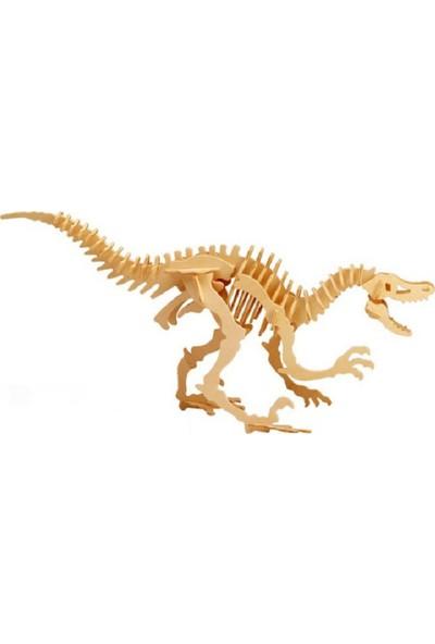 Piramigo 3D Ahşap Maket Boyanabilir Dinazor - Velociraptor