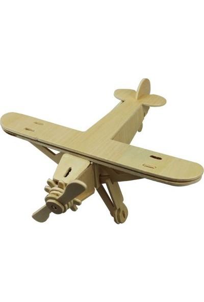 Piramigo 3D Ahşap Maket Boyanabilir Uçak Tek Kanat