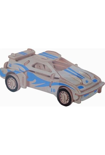 Piramigo 3D Ahşap Maket F20 Mavi Araba