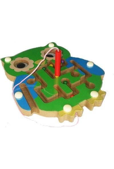 Piramigo Ahşap Mıknatıslı Kalemli Labirent Oyunu Baykuş Modeli