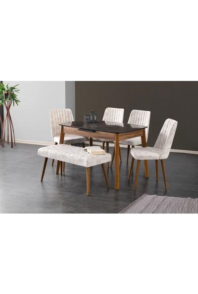 Evistro Ortadan Açılır Ahşap Salon Yemek Masası Bench Puf 6 Adet Sandalye
