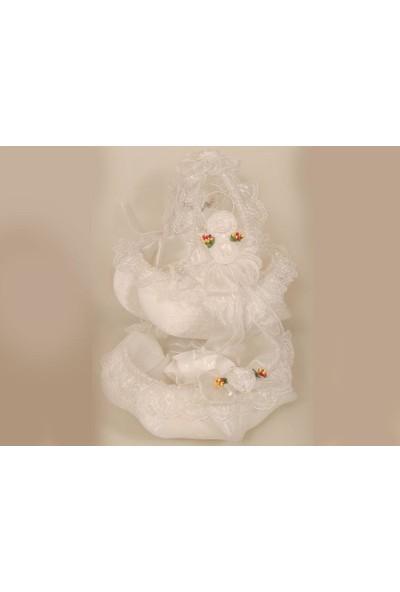 Kavuk Lüx Çiçek Kına Sepeti Beyaz