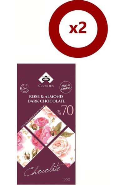 Glories Gul Badem %70 Bitter Çikolata 100 gr 2'li Set