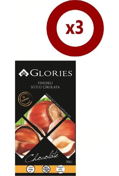 Glories Findikli Sutlu Çikolata 50 gr 3'lü Set