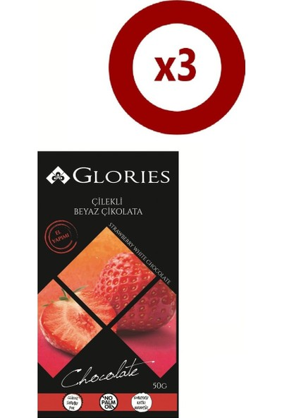 Glories Cilekli Beyaz Çikolata 50 Gr 3'lü Set