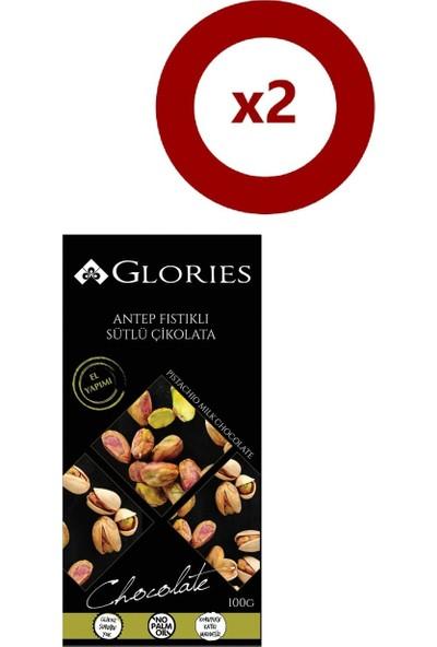 Glories Antep Fıstıklı Sütlü Çikolata 100 gr 2'li Set