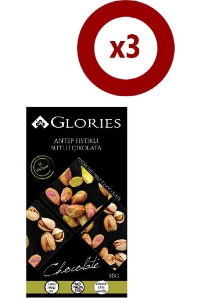 Glories Antep Fıstıklı Sütlü Çikolata 50 gr 3'lü Set