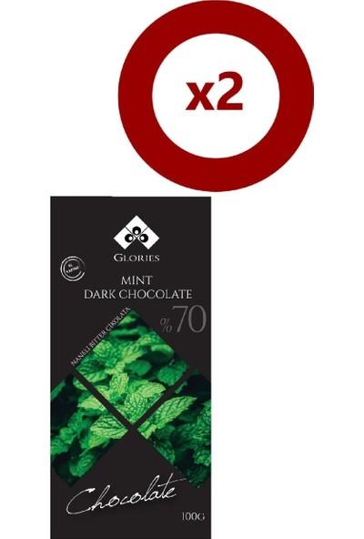Glories Naneli %70 Bitter Çikolata 100 gr 2'li Set