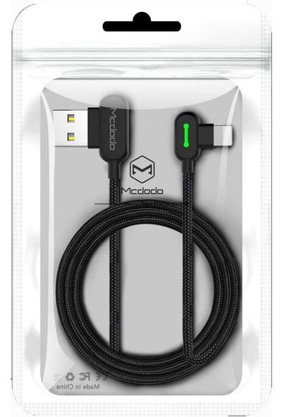 Mcdodo 90 Derece Apple Lightning Şarj Data Kablosu - Siyah 0.5 m