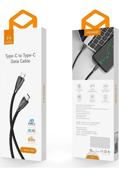 Mcdodo CA-5890 Type-C To Type-C Qc 4.0 60W Şarj ve Data Kablosu 1.5 mt