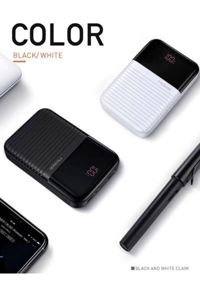 Mcdodo MC-5850 10000 mAh Mini Digital Powerbank Si̇yah