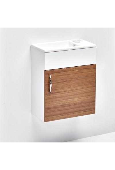 Hepsi Home Saydam Royal 40 cm Mdf Banyo Dolabı Teak Beyaz